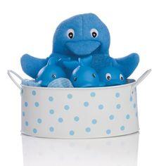 Elegant Baby 4-Piece Bath Bucket Set - Blue Dolphin 4-piece set + coordinating bucket. Includes bath mitt, sponge, soap dish and squirtie toy. Blue dolphin.  #Elegant_Baby #Baby_Product
