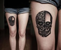 Two sided skull tattoo