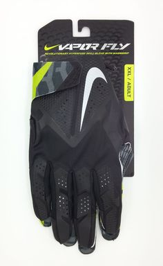 NIKE VAPOR FLY HYPERFUSE MAGNIGRIP BLACK/LIME FOOTBALL GLOVES PAIR (XXL) - NEW #Nike