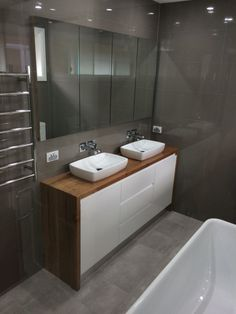 Timber surround - Recycled Blackbutt timber vanity built by Concepts Created Timber Bathroom Vanities, Timber Vanity, Bathroom Vanity Units, Laundry In Bathroom, Bathroom Renos, Bathroom Faucets, Small Bathroom, Bathrooms, Bad Inspiration