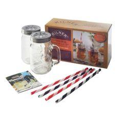Kilner Mug / Straw Gift Set 0.4L Glass Handle Drinks Tumbler Cocktail Beer Jar