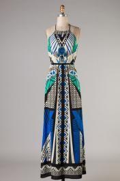 Print Princess Halter Maxi Dress