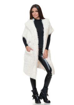 Vesta lunga tricotata cu gluga J1614