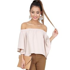 ForeFair new slash neck cotton sexy shirts flare sleeve open back women blouses plus size off shoulder ruffle top