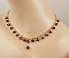 Red Dangle Necklace Garnet Choker Burgundy by DoolittleJewelry, $75.00