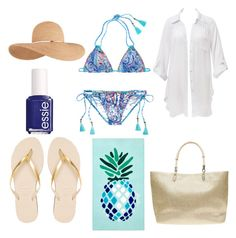 """""""Beach look #2"""" by alice0001 on Polyvore featuring mode, Beauty & The Beach, Victoria's Secret, Matouk, Dorothy Perkins, Eugenia Kim, Havaianas et Essie"""