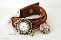 Shabby Rosen - śliczny zegarek skórzany ręcznie robiony #Ribell #MadameLili #zegarki #handmade #moda >> Wybierz Twój na: https://www.ribell.pl/zegarki-recznie-robione-handmade