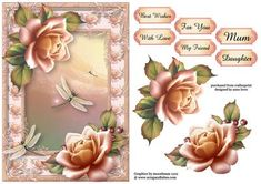 Pastel Sunset Roses Dragonflies on Craftsuprint designed by Anne Lever - This lovely topper features gorgeous pastel sunset roses on a matching frame, with dragonflies. It has decoupage and six greetings. The greetings are, best wishes, with love, for you, mu friend, mum and daughter. - Now available for download!
