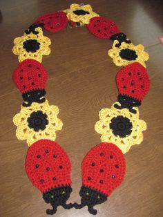 LadyBugs and Flowers Crochet Scarf.
