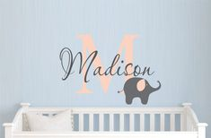 Childrens Name Elephant Wall Decal Girls Name por JustTheFrosting