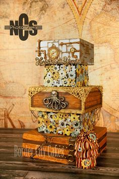 Steam Punk Wedding Cake | Border City Cakes - crazy details! this design would look great for a cardbox