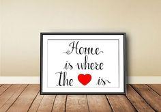 Casa è dove c'è il cuore  Typographic Art Print di PrintableColors