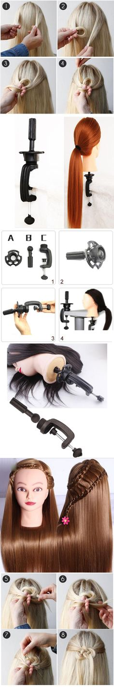 26'' Salon Cosmetology Hair Hairdressing Training Head With Thick Hair Wig Mannequin Heads + Clamp Holder+Free GIFT