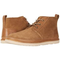 UGG Neumel Unlined Leather (Chestnut) Men's  Shoes ($125) ❤ liked on Polyvore featuring men's fashion, men's shoes, mens chukka shoes, mens lace up shoes, mens chukka boots, mens leather lace up shoes and ugg mens shoes