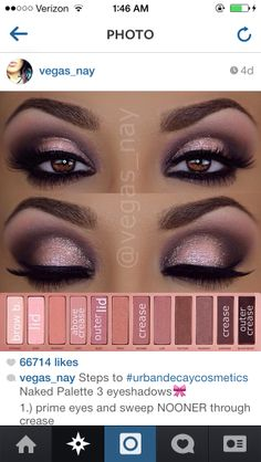 Romantic smokey eye using the Urban Decay Naked 3 palette #vegas_nay #urbandecay
