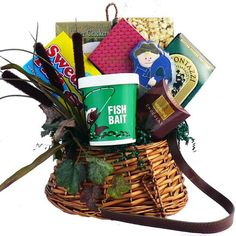 Give the fisherman in your life a great gift made just for him. This keepsake wicker fishermans creel is overflowing with gourmet goodies and fish-themed sweets and treats. This ones a keeper for any fishing enthusiast.
