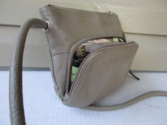 Tignanello Shoulder Bag Cross Body Taupe Leather Organizer Shoulderbag