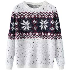 Blackfive Christmas Snowflakes Intarsia Mohair Sweater (€29) ❤ liked on Polyvore featuring tops, sweaters, shirts, long sleeves, christmas shirts, extra long sleeve sweater, extra long sleeve shirts, snowflake sweaters and long sweaters