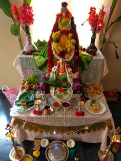 Varalakshmi Vratham 2019 honours the most popular Goddess Maha Lakshmi. Varalakshmi Puja or homam on this day means abundant wealth is sure to come your way. Festival Decorations, House Decorations, Ganpati Decoration At Home, East Direction, Pooja Room Design, Puja Room, Goddess Lakshmi, God Prayer, Ganesha