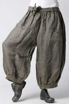 La Bass~ Just in ~BISCUIT~ Linen Tulip Baggy Pocket Trousers ~Size ...