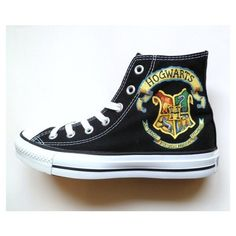 Harry Potter inspired Converse by emmivisser on Etsy, $119.95 |... ❤ liked on Polyvore featuring shoes, converse and sneakers
