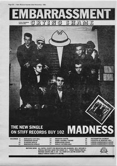I Madness su NME del 1980 con Embarassment Victoria Hall, Ska Music, Skinhead Girl, Crying Shame, Blue Train, Rude Boy, Great British, Music Albums, Cool Bands