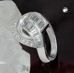 Ring, Zirkonias, rhodiniert Silber 925  Oberfläche anlaufgeschützt rhodiniert