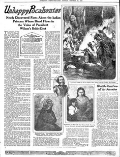 "A newspaper article about the Native American Pocahontas, published in the Richmond Times Dispatch (Richmond, Virginia), 24 October 1915. Read more on the GenealogyBank blog: ""First Lady Edith Wilson & Her Ancestor Pocahontas."" http://blog.genealogybank.com/first-lady-edith-wilson-her-ancestor-pocahontas.html"