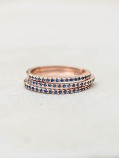 Eternity Ring Set - Rose Gold with Sapphire Blue