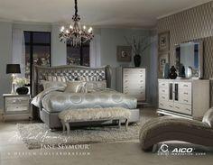 Silver Bedroom Decor, Glam Bedroom, Bedroom Sets, Home Decor Bedroom, Modern Bedroom, Mirror Bedroom, Queen Bedroom, Dresser Mirror, Theme Bedrooms