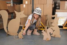 Cardboard Woodland Creatures  Free Shipping by MettaPrints on Etsy, $69.00  room decor? Should make.