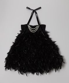 Loving this Black Feather & Pearl Dress - Infant, Toddler & Girls on #zulily! #zulilyfinds