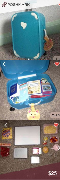 AG Travel Kit From a smoke free home, open to offers  Includes: • 1 world map • 1 travel journal and pen • 1 boarding pass in holder • 1 passport with different country stickers • 1 kitty cat luggage tag • 1 sparkly turquoise hard luggage • 1 kitty cat neck pillow Other