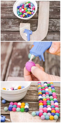 When your kid's too young to tell you what their favorite color is, it's best to play it safe and make sure that all the colors are well-represented in their nursery decor. This wooden letter DIY is an easy way to personalize your baby's space without too much effort. Plus, sticking the little pom-poms on one by one is pretty therapeutic.