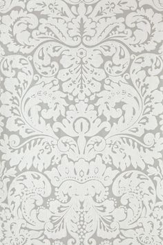 Silvergate (BP - Farrow & Ball Wallpapers - An early century English damask paper. Silvergate's flourishing motif demands attention with its rich flair. Shown here in white on smokey grey water based paints - more colours are available.