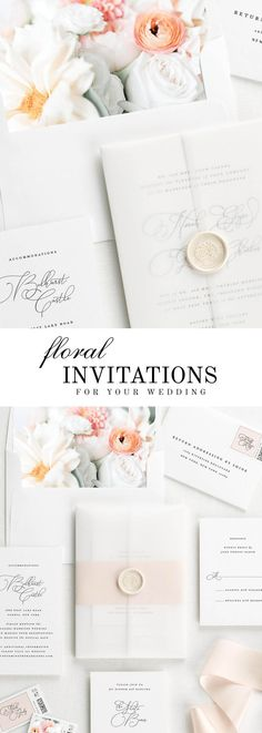 The Norah wedding invitation suite, paired with Lilah florals.  Lilah features peach dahlias, ranunculus, and white spray roses.