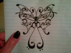 Butterfly and music tattoo idea