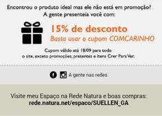 Não fiquei triste se o produto que você quer nesta Semana do Cliente na Rede Natura não está em promoção. Use o cupom COMCARINHO e ganhe 15% de desconto! www.redenatura.net/espaco/suellen_ga  A Natura entrega em sua casa em todo o Brasil. Pague diretamente à Natura com boleto bancário ou divida em até 6x sem juros no cartão (parcela mínima de R$ 30,00). #natura #perfume #presente #promocao #homem #hidratante #cabelo #desconto #oferta #beleza #cosmetico #maquiagem #makeup