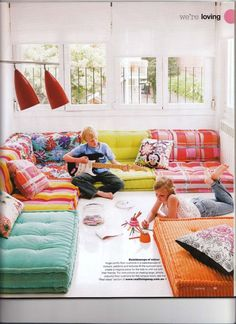 great idea for a lounge area for kids and teenagers. low cushion sofa