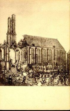 De ruine van de toren van de Grote Kerk na de storm van 16 december 1682 (naar een schilderij door Jan Grasdorp, 1682).