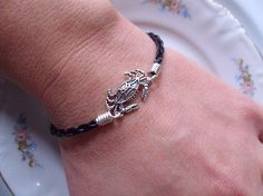 Crabby Crab Black Braided Leather Bracelet Stackable Crab Bracelet Handmade by Taylors Temptations in the USA