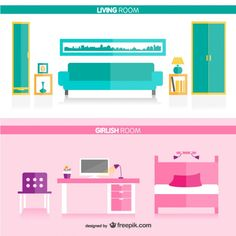 Living room and girl's room Free Vector