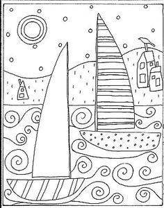RUG HOOK CRAFT PAPER PATTERN 2 Sailboats And Houses FOLK ART PRIM Karla G