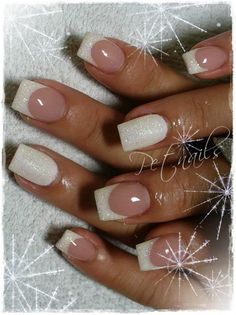 Sparkly Snow White nails  #french #bridal #wedding #pink and white #elegant #versatile #nail design