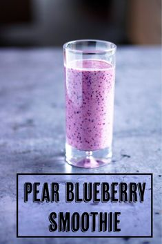 A healthy breakfast smoothie made with pears, blueberries, Greek yogurt and milk. Not only does this pear blueberry smoothie look beautiful and is quick to make, but it tastes delicious and needs no extra sugar or sweeteners. Easy Healthy Smoothie Recipes, Breakfast Smoothie Recipes, Fruit Smoothie Recipes, Smoothie Prep, Pear Smoothie, Smoothie Ingredients, Smoothie Bowl, Brunch Recipes, Pear Yogurt