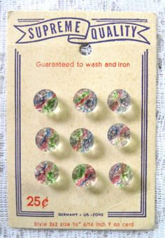 CARD W/FACETED GLASS BUTTONS~RAINBOW COLORS~GERMANY (06/02/2011)