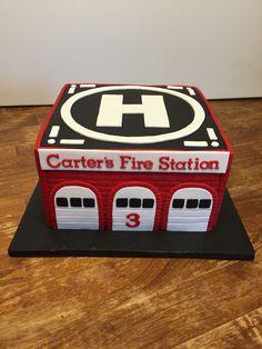 Fire station birthday cake
