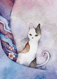Cat aquarelle de Juri Ueda.