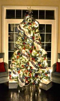 Patriotic Christmas Tree in colors of blue, red, white/silver.