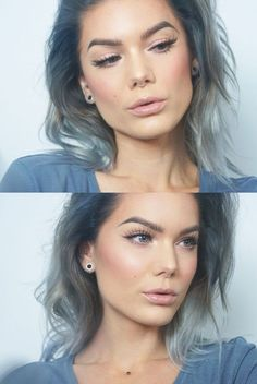 Blue Messy Hair and a Nude Makeup Look, Fresh and Natural Look